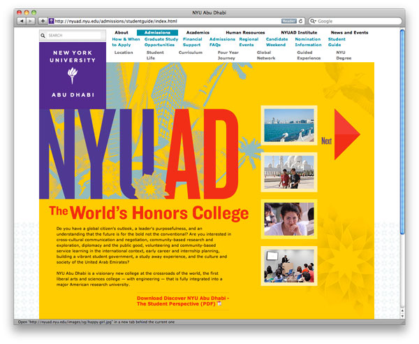Anh Nguyen ::: Portfolio > NYU Abu Dhabi Website